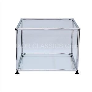 USM Haller Beistelltisch in Glas mit Wasserzeichen